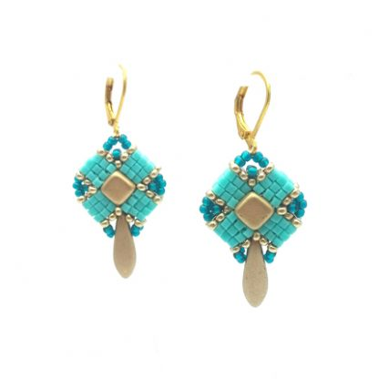 Clover-Ohrhänger turquoise and golden