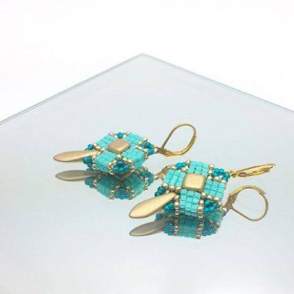 Clover Ohrhänger turquoise und golden